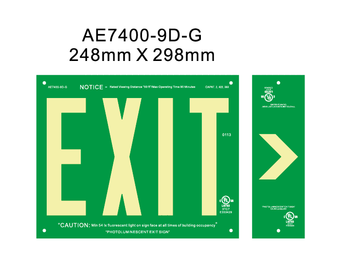 UL Photoluminescent Exit sign