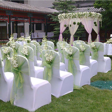 Wedding Organza 20 x 280cm Organza Chair Cover Sashes Bow Sash For Wedding Banquet Party Decoration Free Shipping