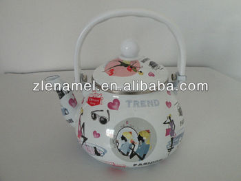 fashion decals enamel tea pot kettle 1.5L tetera sweet cottage