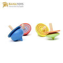 Eco-friendly classic wooden spinning top toys spin top for kids