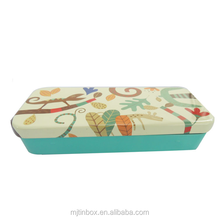 Eco-Friendly Metal Tin Boxes Display Storage Gift Rectangular Tin Box Cigar Package Tin Shallow Size Cosmetic Packing with hinge