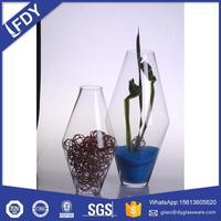 Customized art docoration handblown large tall glass vase