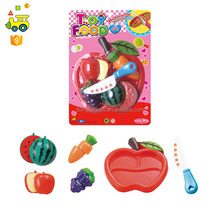 plastic fruit and vegetables for kids kitchen set toy cutting apple shape fruit toys