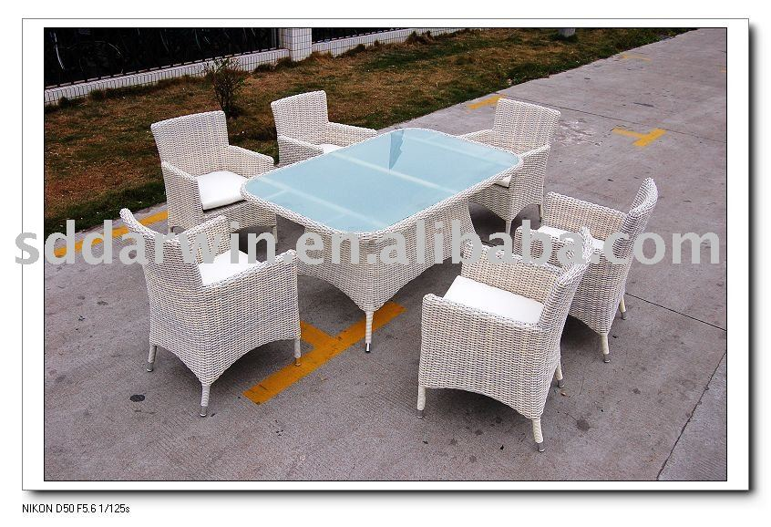 Garden Synthetic Rattan Mosaic Dining Table and Chair SV-8040