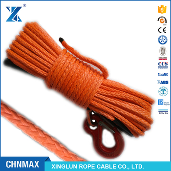 "strong orange color braid CHNMAX J-MAX 1/2"" synthetic winch tow rope with thimble hook protect jacket by rope factory"
