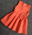 New style baby girl dress 2016 hot sale bow sleeveless party girl flower dress
