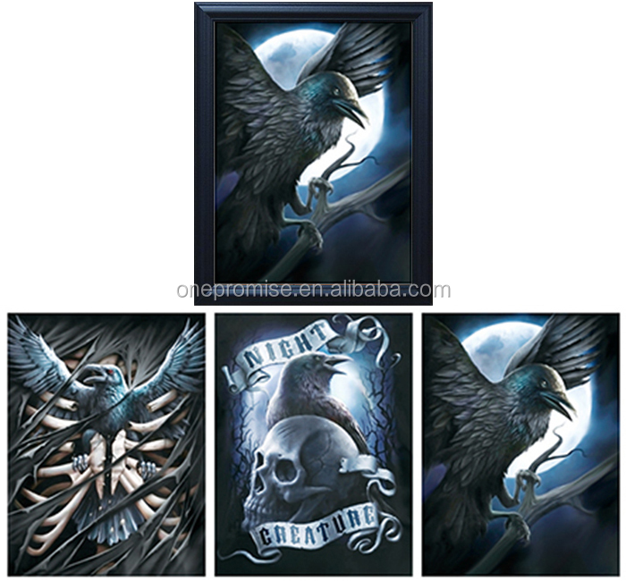 Light Eagle and Skull Head 3D Moving Lenticular Picture Poster