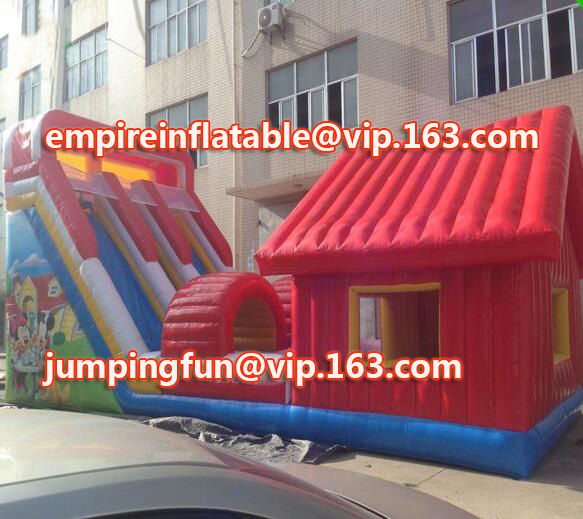 PVC material large inflatable slide with bounce house ID-SLM048