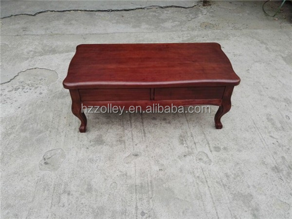 French antique style wood hand carved coffee table with storage drawers
