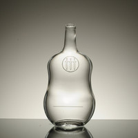 Customize empty new design violin shape glass spirits bottle for whiskey