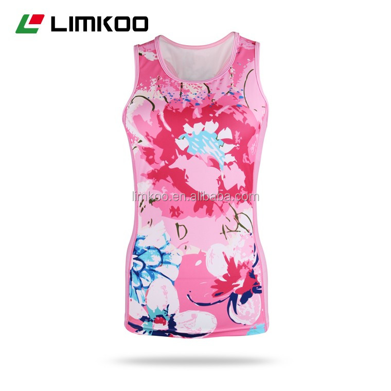 Hot selling Customized Lady's Bicycle Triathlon Singlet Racer back Tops 2016