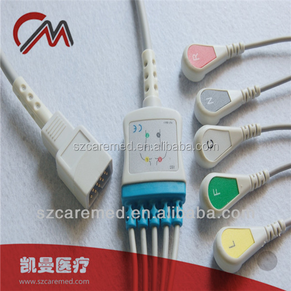 One-piece Series ECG Cable with 5 Leadwires Snap End and IEC Standard for MEK MP500/ MP600/MP1000