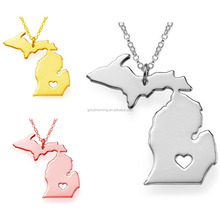 USA 50 states map stainless pendent necklace