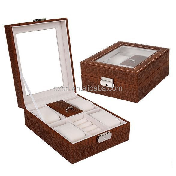 Brown Men's Brand Leather Watch and Jewelry Box Wholesale