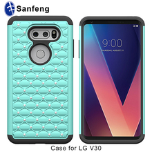 Bling Rhinestone Pc Silicone Rubber Case for Lg V30, Custom Phone Cover for Lg V30