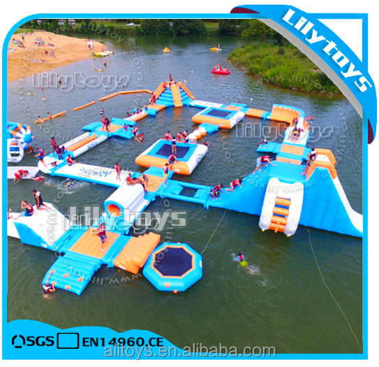 Attractive fun water park inflatable floating water aqua park sport for sea