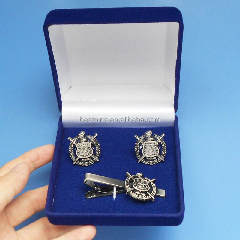 Velvet Gift Box Set Vintage Silver Die Casting Fraternity and Sorority Mens Tie Pin Cufflinks Set