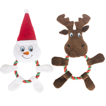 manufacturer cute snowman elk plush rope christmas chew pet dog toy
