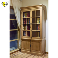 Oak Cabinet Soild Wood Bookcase with 4 Glass Door Wood Cabinet Furniture