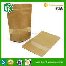 resealable kraft paper custom printed food packaging bags with window and zipper from china