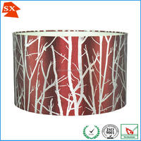 Christmas industrial luxury dark red flush plastic fabric circle lampshade