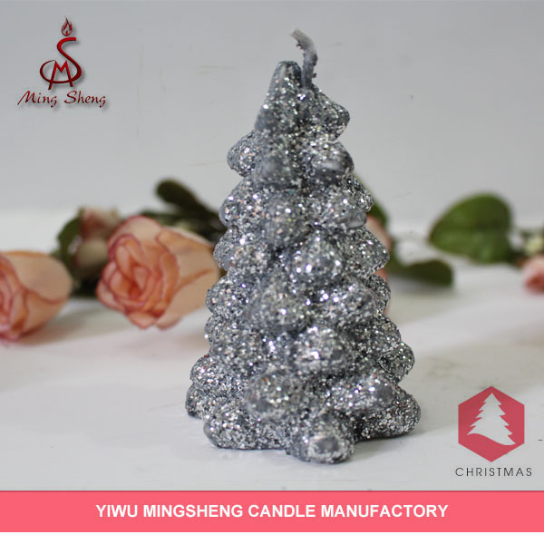 High quality silvery tree shape decorative christmas candle