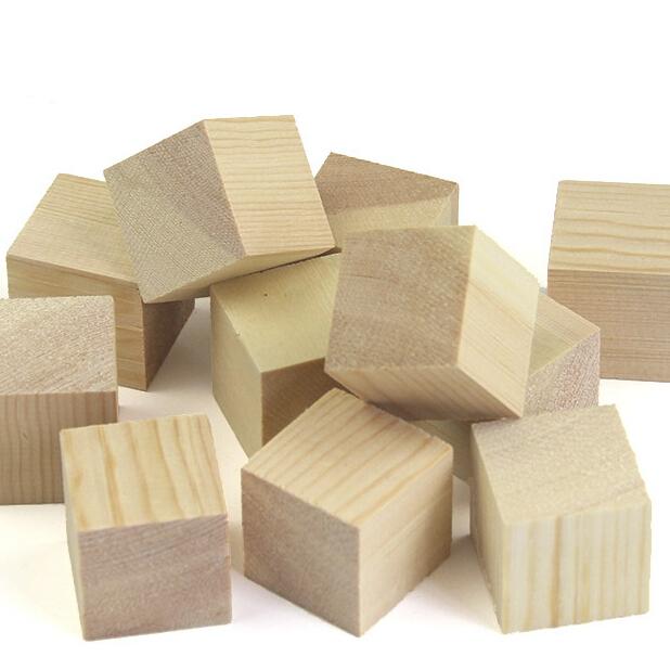 Natural Unfinished Pine: Natural Unfinished Pine Wood Cube 30mm Kids Building