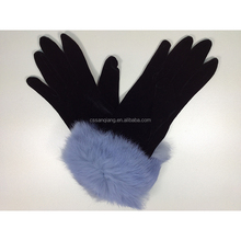 2015 New product lady fashion winter warm velvet gloves black with pink/blue/white