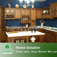 Coffee Glazing Maple Solid Wood Kitchen Cabinet