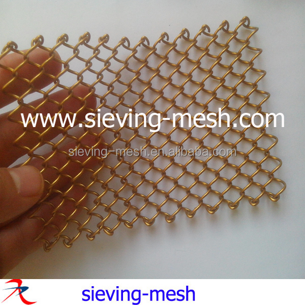golden color metal wire netting link curtain factory/metal hanging mesh curtain