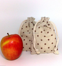 Personalized Cotton Muslin Drawstring Bags For Apple