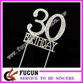 Rhinestone Silver Crystal Number Diamond Anniversary Birthday Cake Topper