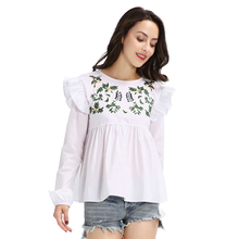 New women long sleeve ruffles cotton embroidery fashion design lady white blouse
