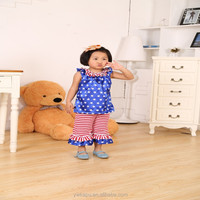 2015 4th of July New Gigle moon baby girl Patriotic outfit chirldren clothes kids clothing baby girl outfit Boutique Clothing se