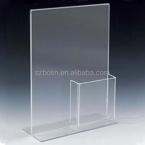8.5 x 11 Clear Acrylic Sign Holder with Pocket for 4 x 9 Brochures, T-style