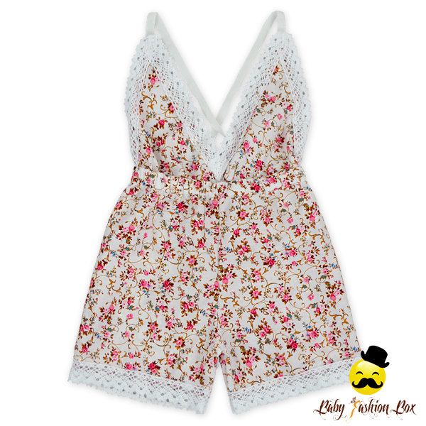 HYB185 Yihong Newborn Baby Clothing White Lace Back Less Striped Romper Set Floral 2 Pse Kids FLutter Sleeve Leotard