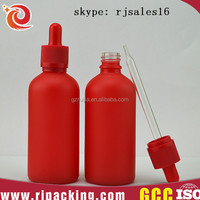 5ml 10ml 15ml 30ml 50ml 100ml red frosted glass bottle for cosmetic,airless spray glass bottle for cosmetic