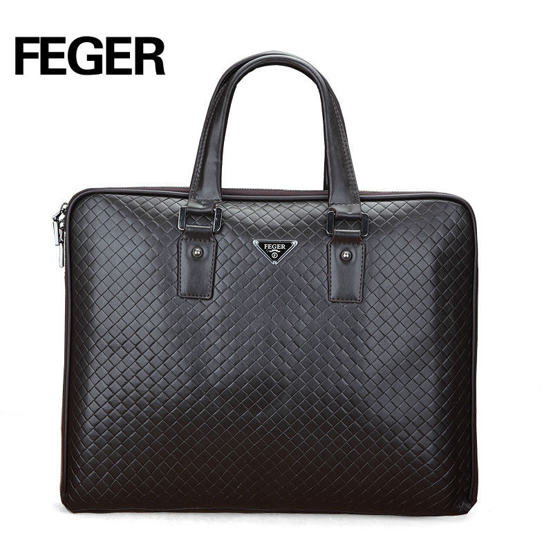 FEGER Black Genuine Leather Men's Bag Hard Business Leather Briefcase