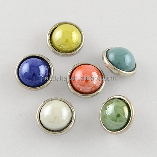 Wholesale 12mm Glass Pearl Cabochon Snap Button Decor Accessories(GLAA-S058-<strong>M</strong>)