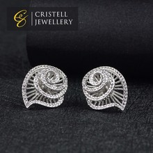 Elegant fashionable bridal wedding jewelry swirl cz pave stone shell shaped stud earrings in brass or 925 sterling silver