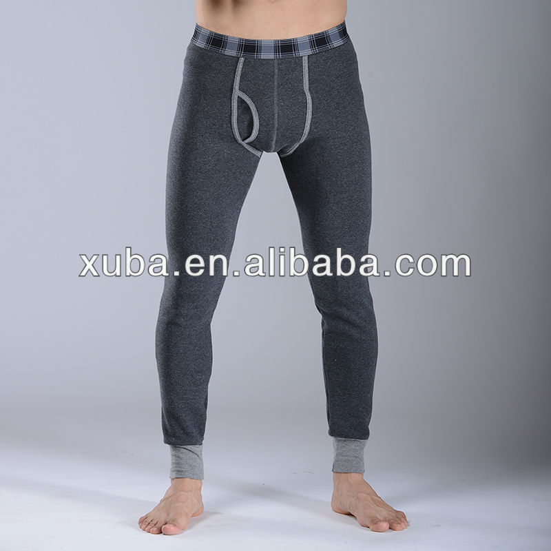 The Black Mens Thermal Long John Pants With Woolen