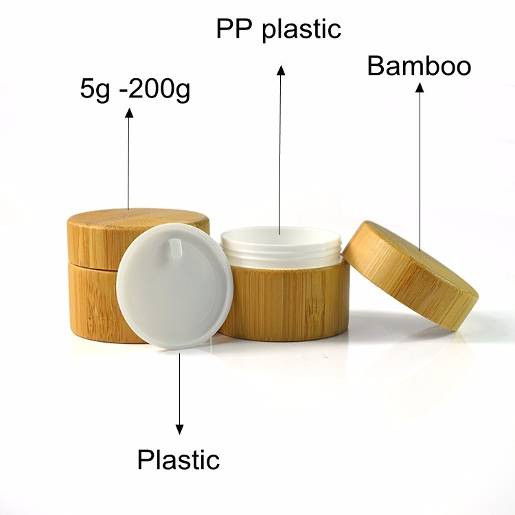 30ml 50ml 100ml bamboo lid glass frosted cosmetic face cream jars with wood cap