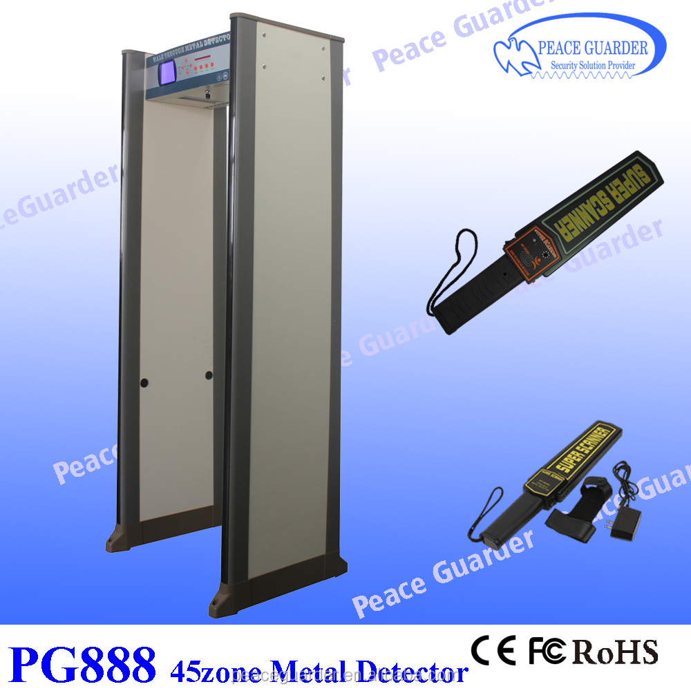 Enhanced 45zone walk through metal detector gate for gold factory with directional counter PG888