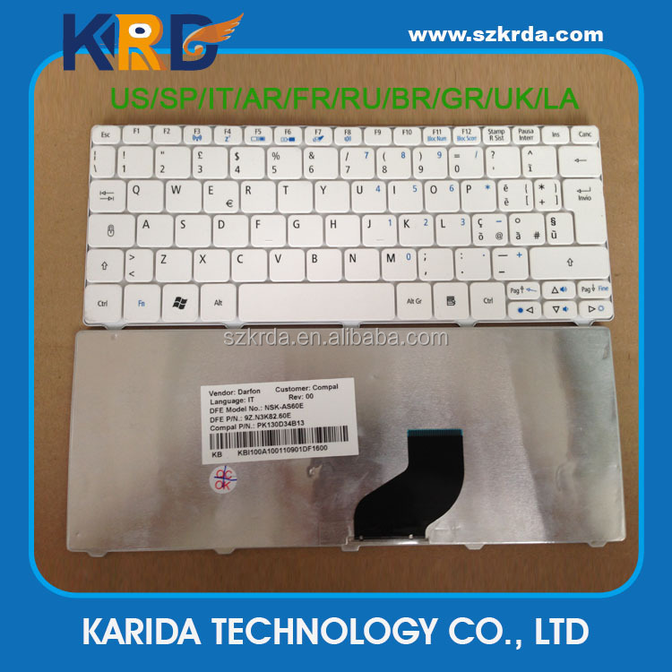 Genuie new Notebook keyboard for Acer One D255 D257 Laptop keyboard one 532 532h 521 533 keyboard