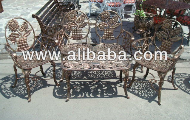 Out Door livig Set 4pcs cast aluminum table 3chairs
