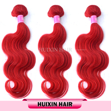 Unprocessed virgin dyeable red color indian remy human hair weaving