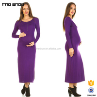 Ladies custom label elegant plain long sleeve maxi dress maternity clothing 2017