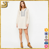 Taupe Embroidered Long Sleeve cotton linen designer one piece dress
