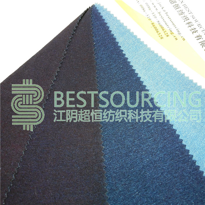 High quality machine grade indigo knitted fabric 1X1 RIB