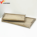 rectangular wooden food serving tray set, tray serving